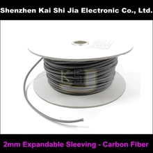 200M/Lot 2mm Round Carbon Fiber High Density PC Power Cables Shieled PET Expandable Sleeving(China)