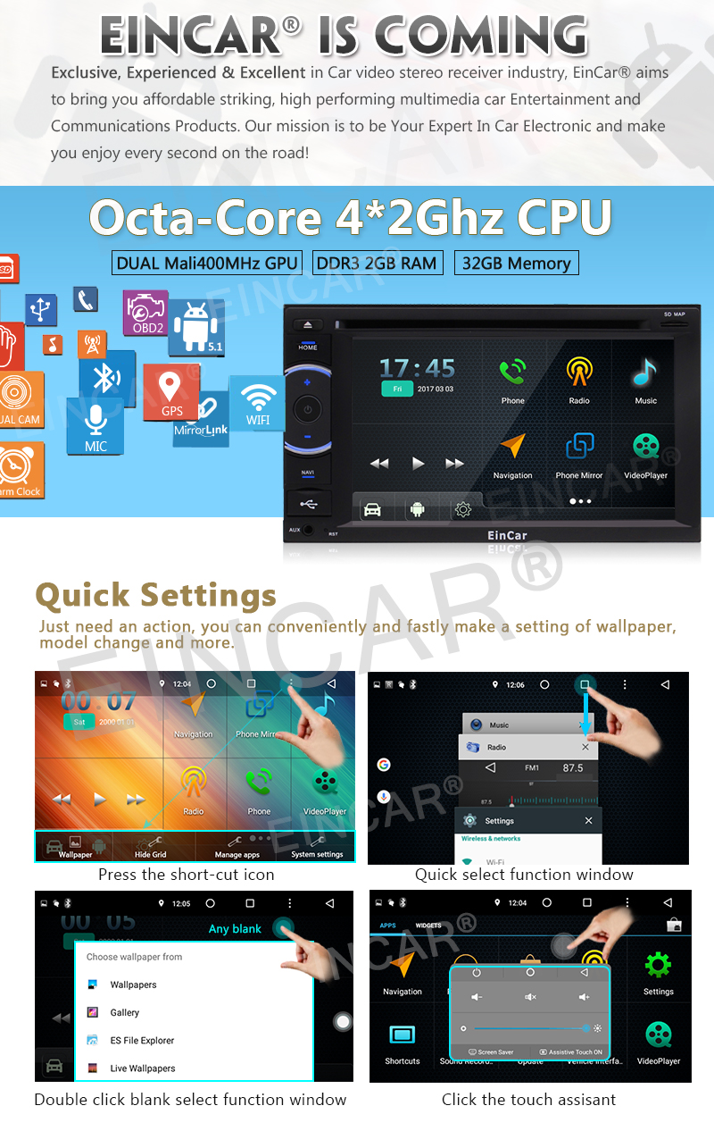 Eincar Octa-core RAM 2G Car Stereo Radio 2 Din Head Unit Android 5.1 GPS Navigation Audio Radio 1080P Video Wi-Fi External Micro