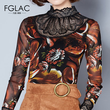 Buy FGLAC Women clothing Fashion Casual long sleeved Autumn Mesh tops Elegant Slim Printed women blouse plus size Lace tops for $12.30 in AliExpress store
