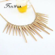 Steampunk Pendant Necklace Gold-Color Silver Color Chain Spike Maxi Statement Necklaces & Pendants For Women Jewelry(China)