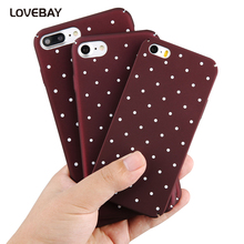 Lovebay Cartoon Wave Point Case For iPhone 7 Wine Red Ploka Dots Phone Cases Hard PC Cover For iPhone X 8 7 6 6s Plus 5 5s SE(China)