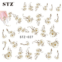 1sheets Fancy Flower Vine Sexy DIY Polish Stamping 3d Nail Water Stickers Decals Decorations Beauty Charm Styling Tools STZ027