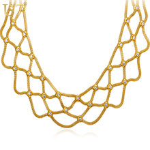 U7 New Gold Color Bib Necklace For Women Wholesale Soft Stainless Steel Hiphop Choker Statement Necklace & Pendant N542(China)