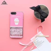 Lizardhill Cute Sweet cupcakes Ice Cream Glitter Bling Dynamic Liquid Back Cover For iPhone 6 6S 7 Plus phone cases for iphone 7(China)