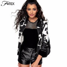 Print Long Sleeve Bomber Jacket Women Autumn Winter Zipper Color Block Basic Coats Girl Short Jacket Outwear(China)