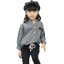 blouses for girls 20016 new fashion baby girl shirts autumn long sleeve stripe blouse for girls turn down collar girls patterns
