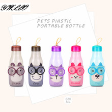 530ml New Creative Cartoon Cat Rabbit Sheep Dog Cow Animals Pest Plastic Portable Bottle Students Bottle Gift For Children(China)
