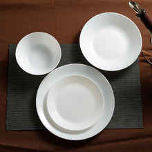 Free shipping Wholesale White Opal Glass Porcelain Flat Plates Dishes Tableware Salad Dish Sushi Breakfast Steak Plate