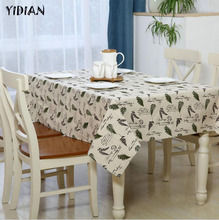 YIDIAN Krorean Cotton Linen Tablecloth Leaf Pattern Rectangular Table Covers Home Party Banquet High Quality Table Cloth(China)