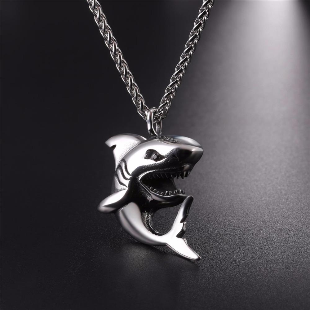 """Punk Shark"" Stainless Steel Shark Necklace / Chain 4"