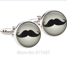1 pair Cufflinks High Quality Mustache cuff links ,Moustache Glass Art Cufflinks,,gift for him Father Dad,wedding cuff links(China)