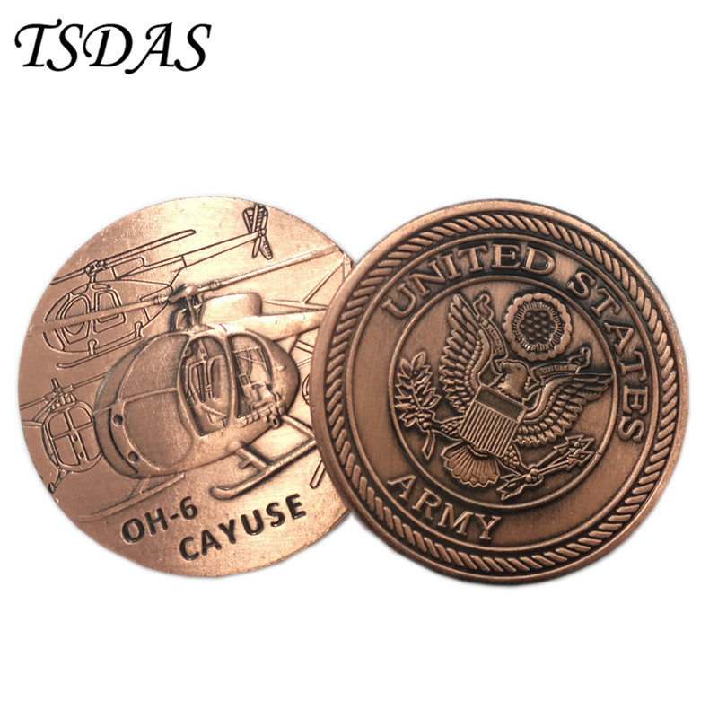 American OH-6 CAYUSE Helicopter Challenge Coin World War Army Metal Token Coin Military Bronze Plated Souvenir Coin(China)