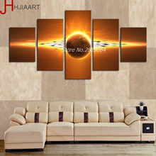 HJIAART 5 Pieces Unframed HD Printed Planets Outer Space Wall Decor Pictures Modern Living Room Decor Canvas Art Oil Paintings(China)