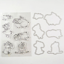 COOLHOO pig Transparent clear Stamp and Metal Cutting Die for DIY Scrapbooking / Card Making/Photo Album Decoration