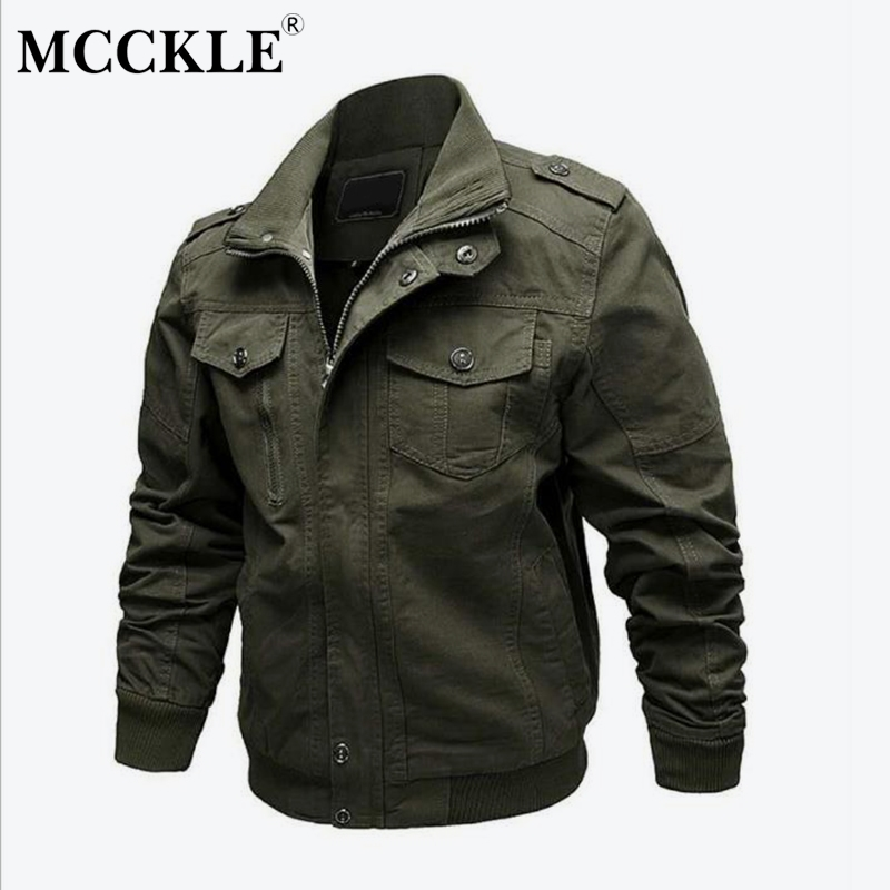 MCCKLE Mens Military Jacket Autumn Winter Plus Size M-6XL Man Jackets Army Clothes 100% Cotton Casual Coats Outwear Clothing