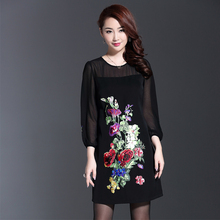 Black Mini Dress 2016 Early Autumn High Street Retro Topshop 3/4 Lantern Sleeve Ladies Street New Arrival Embroidery Soft Dress