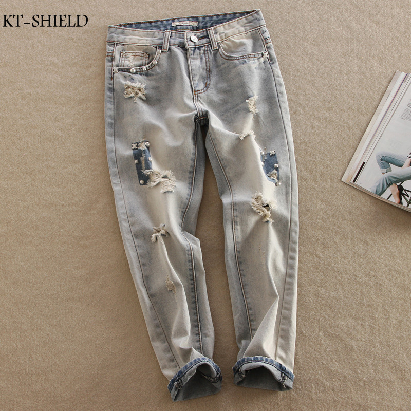 Spring autumn ripped Women jeans Fashion boyfriend jeans for woman Loose size hole denim pants vintage high waist jeans femmeОдежда и ак�е��уары<br><br><br>Aliexpress
