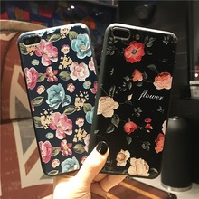 New Brand Cute Flowers Patterned TPU back Case for Apple iPhone 6 7 s 6s Plus Phone Cases 4.7 5.5 inch Cover RU UA PL BY