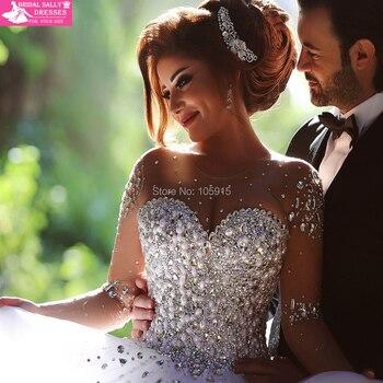 Vestido De Noiva Ball Gown See Through Luxury Beading Long Sleeve Wedding Dress Hot Sale Sweetangel Robe De Mariage MTOB1759