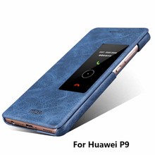2016 New flip cover case with Smart Sleeping window for Huawei P9 with Stand function cas de telephone for Huawei P9(China)