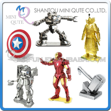 Mini Qute Piece Fun 3D color the avengers super hero robot thor gold general Metal Puzzle adult DIY models educational toy