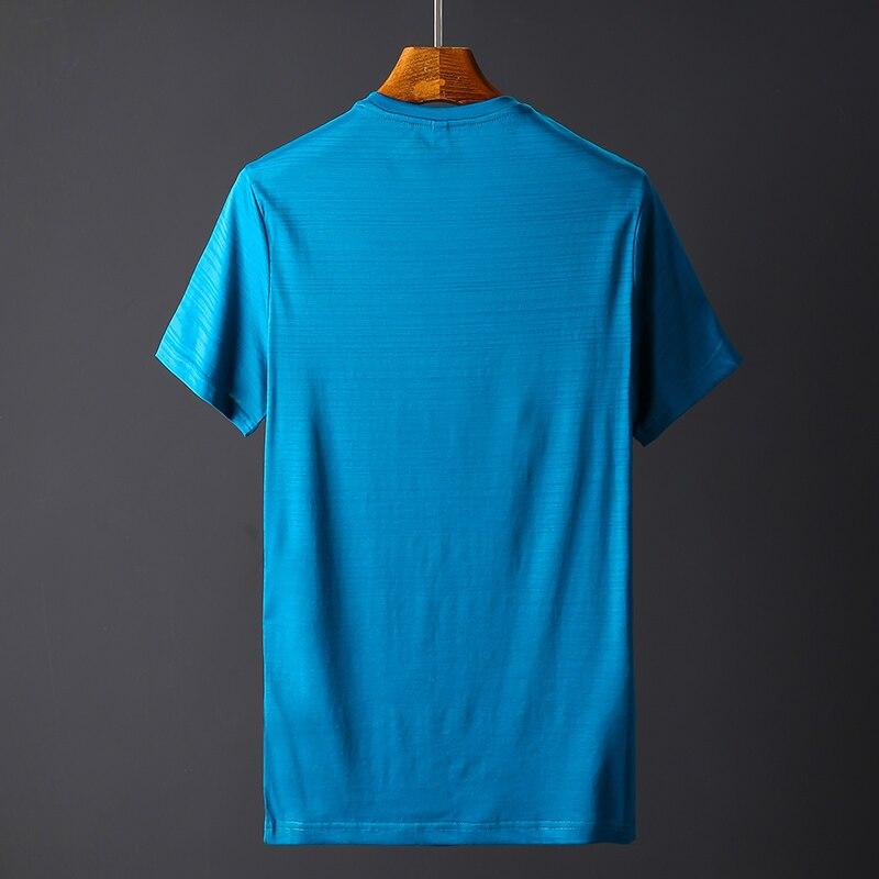 2018 Summer High quality men T shirt casual short sleeve V-neck Mercerized cotton t-shirt men brand icy Silk black Co (7)