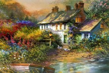 Thomas Kinkade oil painting poster fabric canvas wall poster print N0284