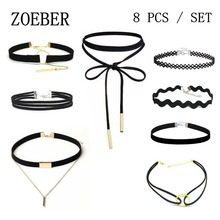 ZOEBER 8 PCS/Set New Gothic Tattoo Leather Choker Necklaces Black leather necklace collar bowknot rope chain Hollow Out Black