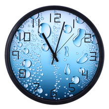 12 Inches Home Decor Modern 3D Silent Water Drop Pattern Wall Clock Aluminum Frame Anti-fog Glass Transparency Wall Clocks(China)