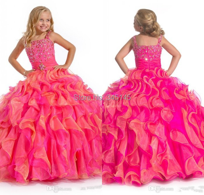 Girl's Pageant Dresses Spaghetti Organza Ball Gown Flower Girl Gowns Sequins Beads Tiers Layers Dress Floor-Length Fall