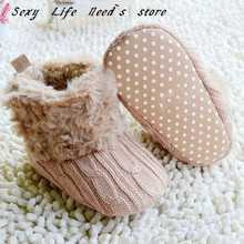 Baby Winter Shoes Infants Crochet Knit Fleece Boots Toddler Girl Boy Wool Snow Boot Crib Shoes Winter Booties(China)
