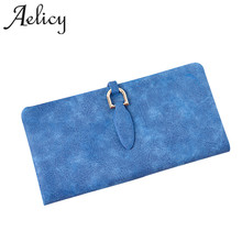 Aelicy 2017 Latest Women Leather Wallet Scrub Folding Wallet Brand Purse Female Clutch Purse Credit Card Holder Coin Purse(China)