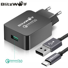 BlitzWolf QC3.0 USB Charger EU Mobile Phone Charger Adapter Wall Travel Charger With USB Cable For Xiaomi For Samsung For iPhone(China)