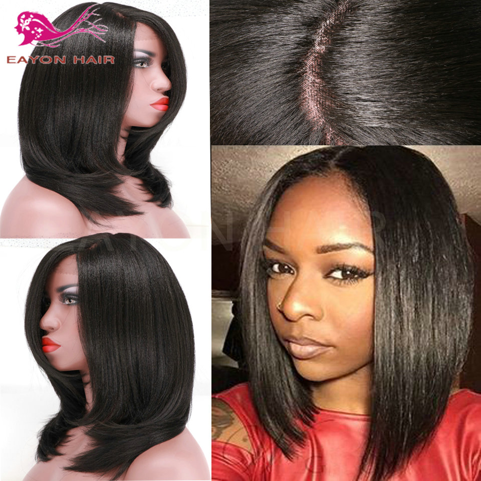 Hot Sale Yaki Straight Bob Lace Front Wig Synthetic Lace Front Wig For Black Woman Fashion Heat Resistant Fiber Black Hair Wig<br><br>Aliexpress