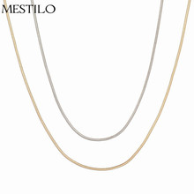 2017 New Summer Thin Clavicle Snake Chain Necklace Brand Silver Gold Simple Plain Short Casual Necklace collier kolye bijouterie