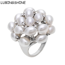 Buy LUBINGSHINE Simulated Pearl Flower Rings Women Wedding Band Fashion Jewelry Female Banquet Dress Accessory Ring Crystal for $1.49 in AliExpress store