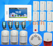 Brand new 7 inch touch screen 868MHZ home security GSM alarm system with English/German/Italian/Dutch/French/Czech/Finnish(China)