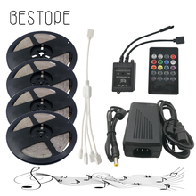 20M 15M 10M 5M RGB LED Strip Lights 2835 waterproof SMD Flexible RGB Ribbon Tape Set+Remote Controller+DC 12V Power Supply(China)