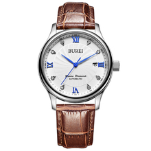 Top BUREI Switzerland Watches Date Display Male Clock Leather Strap Seagull ST1612 Movement Relogio Masculino