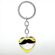 6 styles cartoon Mustache art picture key chain ring cute funny Moustache beard heart pendant keychain men women jewelry HP271