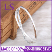 LS High Quality Starry Galaxy Entwined With Cubic Zirconia Bangle Bracelet Fit Women Charm 925 Sterling Silver Bangle Jewelry W