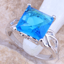 Unusual Blue Cubic Zirconia Silver Stamped 925 Women's Jewelry Ring Size 6 / 7 / 8 / 9  R1464