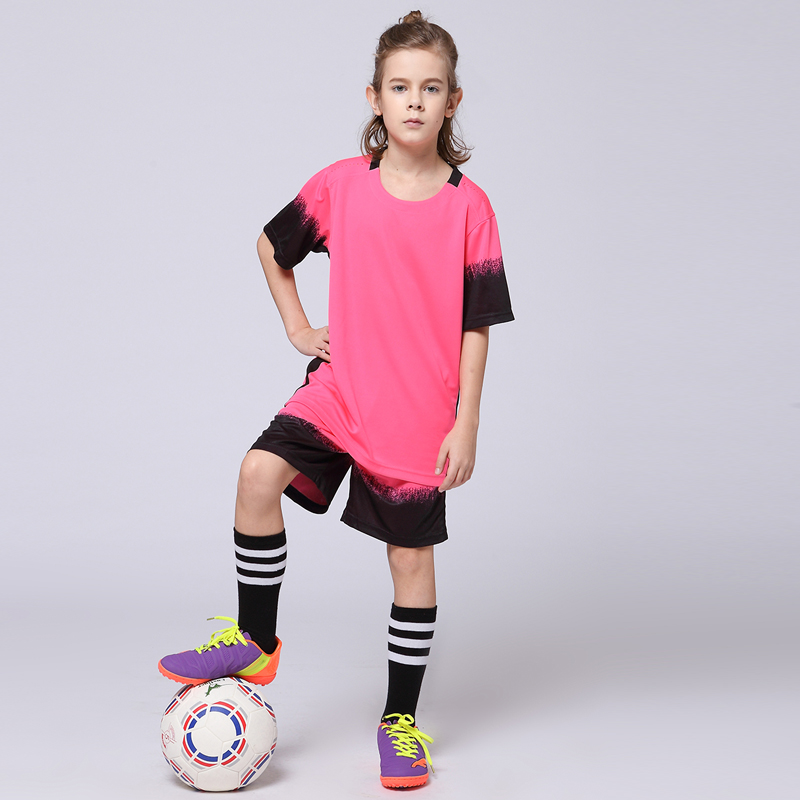 2017 Boys Soccer Sets Girls Blank Custom Team Uniforms Training Suits Youth Kids Survetement Football Jerseys Short Sleeve Kits(China (Mainland))