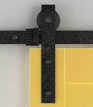 DIYHD 6.6ft Embossing Concave Black Sliding barn door hardware black barn door track kit(China)