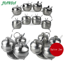 JIANDA (Send a Gift)Stainless Steel Seasoning Jars Set With Spoons Condiment Pot Spice Holder Salt Sugar Jars Storage Tools(China)