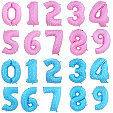 40 Inch Number 1 Foil Balloons Large Pink Blue Air Digit Printed Heart Balloon Birthday Wedding Decoration Ballon Party Supplies