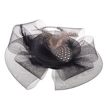 Black Flower Feather Organza Mesh Hair Clip Fascinator Wedding(China)
