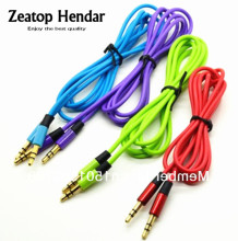 10Pcs Good Quality Aux Cable Male to Male 3.5mm Audio Cable 4 iPod MP3(Blue Green Red Purple)(China)