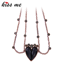 KISS ME Unique Two Chains Black Heart Necklace Retro Women Collar Jewelry Cheap Necklace Accessories