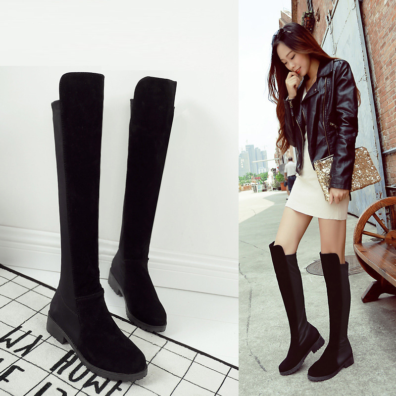 T9034 Classic Flat Boots Women Winter Boots Black Knee High Boots Hidden Heel Stretch Fabric Boots botas mujer slimming Boots<br><br>Aliexpress